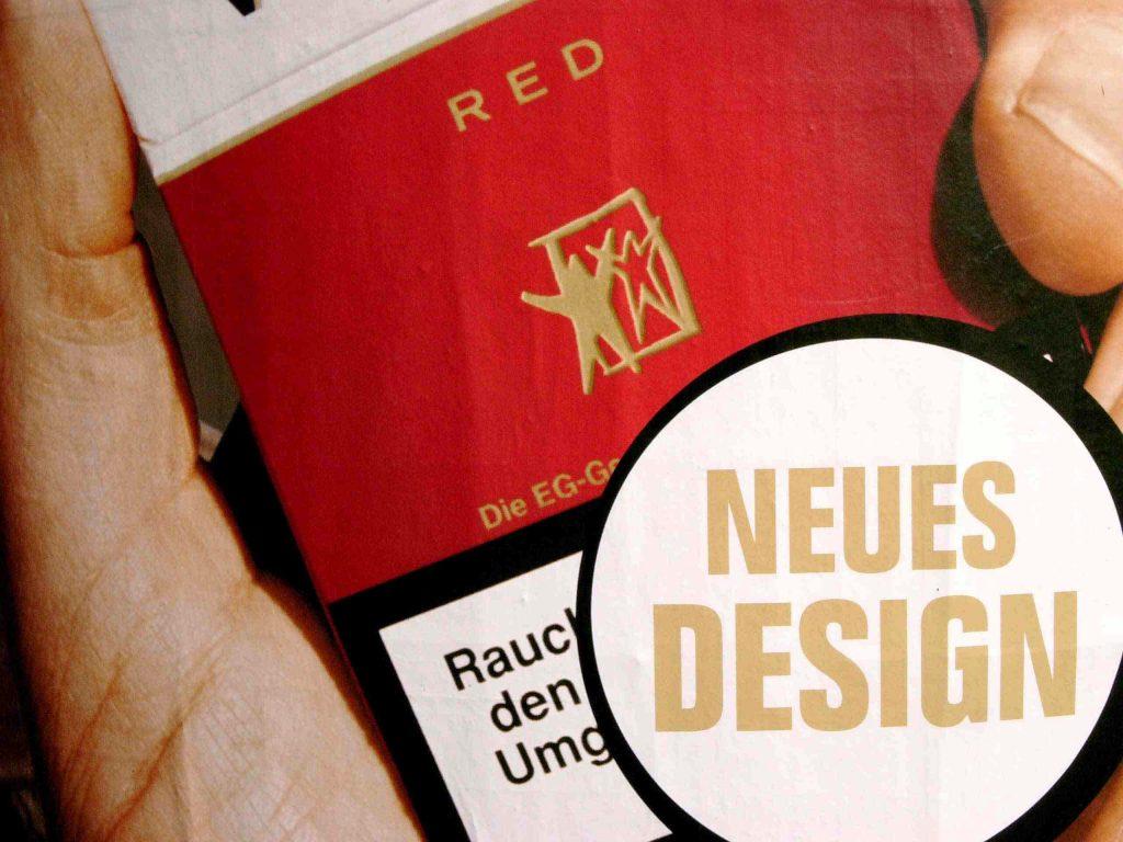 Zigarettenschachtel wirbt mit neuem Design