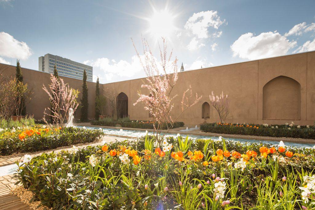 Wasser, Pflanzen und Museumsgebäude