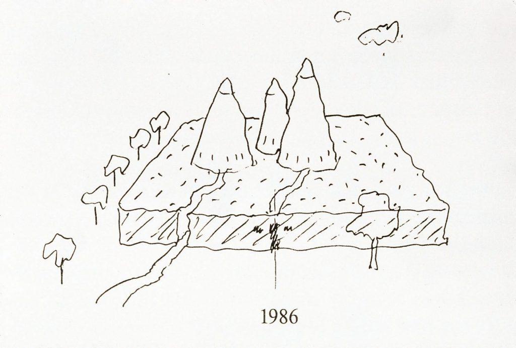Frühe Zeichnung der Bundeskunsthalle, 1986