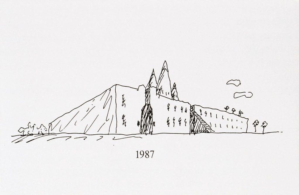 Frühe Zeichnung der Bundeskunsthalle, 1987