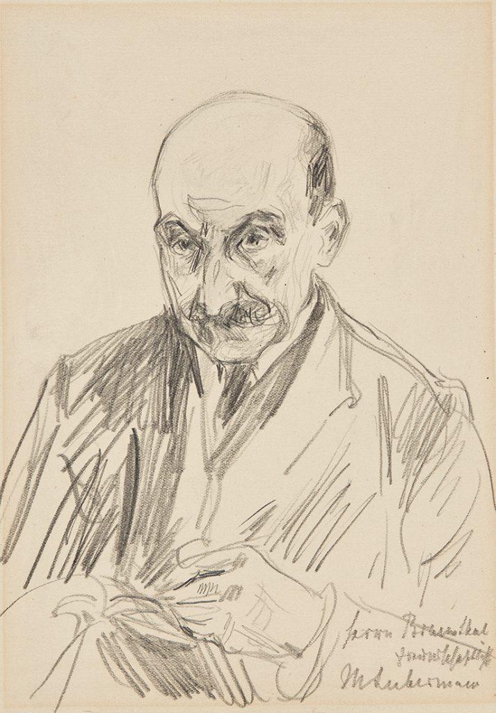Max Liebermann (1847–1935), Selbstporträt des Künstlers mit Skizzenbuch, nach 1914