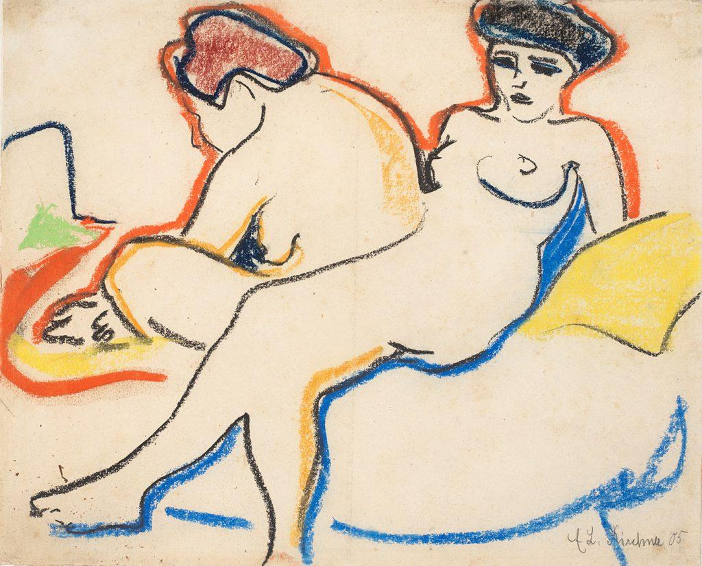 Ernst Ludwig Kirchner (1880–1938), Zwei Akte auf Lager (Zwei Modelle)