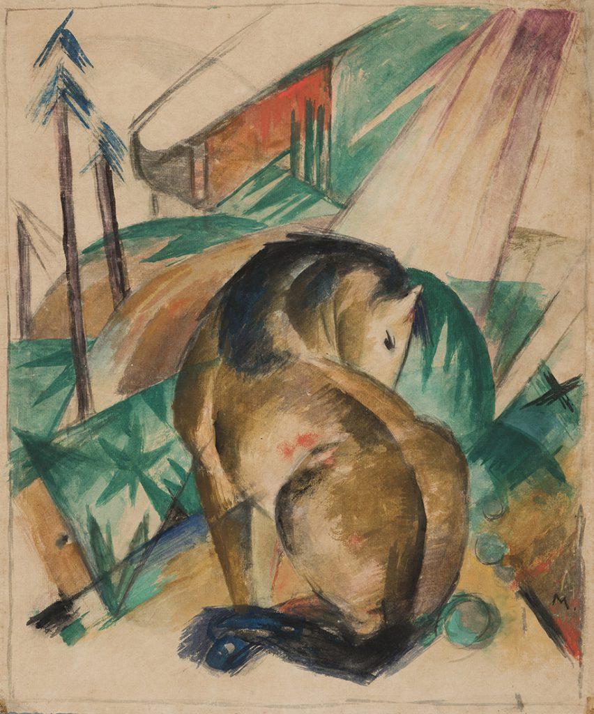 Franz Marc (1880–1916), Sitzendes Pferd, 1912