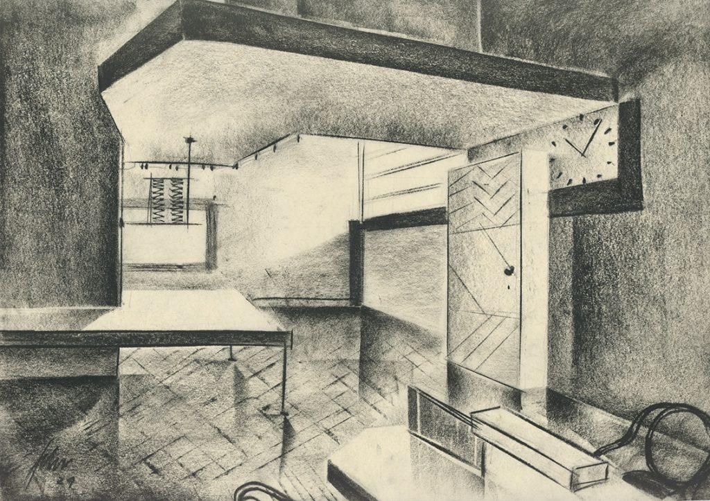 Interieur, Szenenbildentwurf: Franz Schroedter, Kreide auf Transparentpapier, DIE NACHT GEHORT UNS (1929, Carl Froelich), Deutsche Kinemathek – Franz Schroedter Archiv