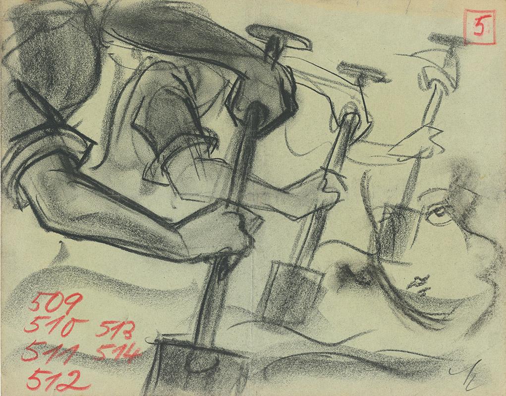 Trickzeichnungen, Entwurf: Fritz Maurischat, Kohle auf Papier, SPRENGBAGGER 1010 (1929, Karl-Ludwig Acház-Duisberg), Deutsche Kinemathek – Fritz Maurischat Archiv