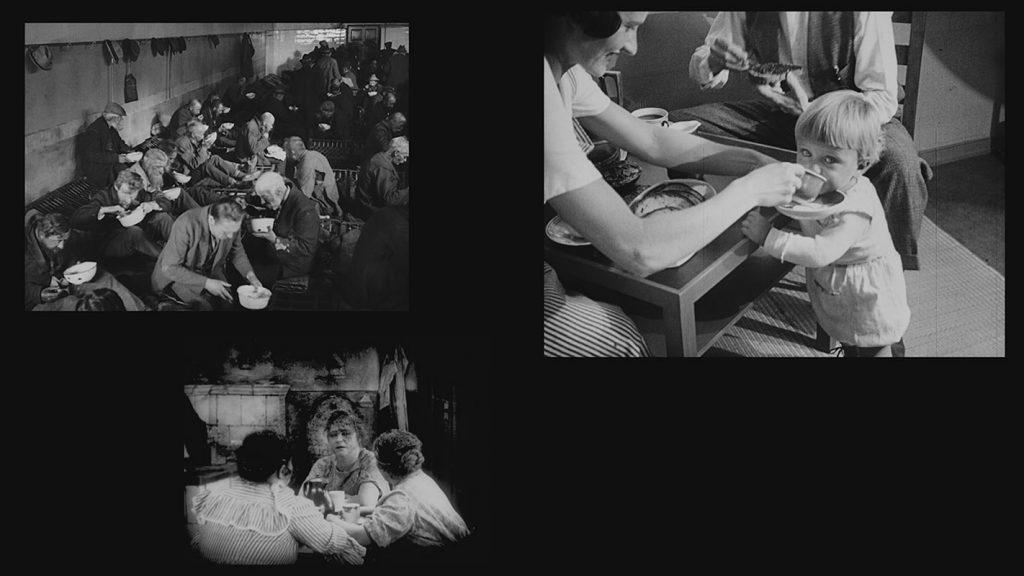 Projektion 1 (groß): DIE FRANKFURTER KLEINSTWOHNUNG (1928, Paul Wolff) Dr. Paul Wolff & Tritschler, Historisches Bildarchiv, Offenburg / Projektion 2 (mittel): DIE VERRUFENEN (1925, Gerhard Lamprecht) Stiftung Deutsche Kinemathek / Projektion 3 (klein): DIE UNEHELICHEN (1926, Gerhard Lamprecht) Stiftung Deutsche Kinemathek