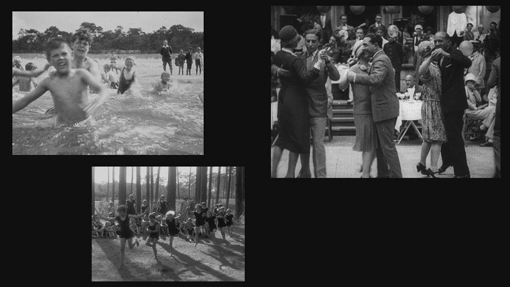 Projektion 1 (groß): BERLIN. DIE SINFONIE DER GROSSSTADT (1927, Walther Ruttmann) Stiftung Deutsche Kinemathek / Eva Riehl / Projektion 2 (mittel): FERIENFREUDE (1926) / Projektion 3 (klein): IM REICH DER KINDER (1928) Agentur Karl Höffkes